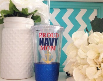 Proud NAVY Mom travel tumbler with Straw