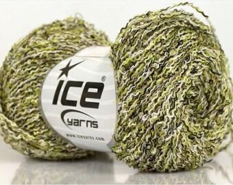 WOOL VISCOSE CRISP WHITE GREEN BLACK 50G FINGERING 3 //54 ICE