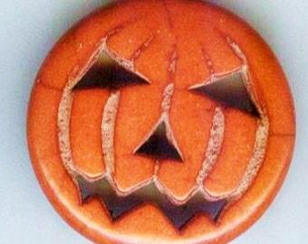 Happy Halloween Stone Pumpkin Jack-o-Lantern Pendant Charm Bead 25mm 1 pc