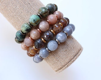 Bohemian Chic Bracelet  Beaded Stretch Boho Chic Jewelry  Stacking Stretchy Layered Bracelets  Colorful Semi Precious Stone  Arm Party
