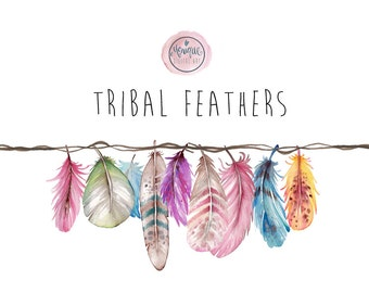 Clipart feathers watercolor, tribal, boho, bright, colorful, planner stickers, planner girl