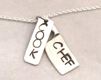 Sterling Silver Chef Stamped Charm Necklace - Cooking Charm - Chef Gift - Chef Jewelry - Culinary Graduation Gift - Hand Stamped Dog Tag