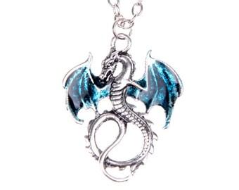 Collier dragon bleu peint à la main argenté