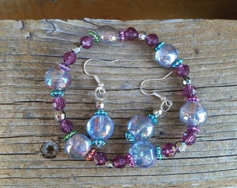 Purple and Blue Beaded Bracelet and Earrings Set - Handmade in the USA - Beach Lover