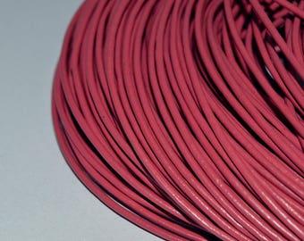 Set of 5 meters of sons of leather Fuchsia - diameter: 2mm