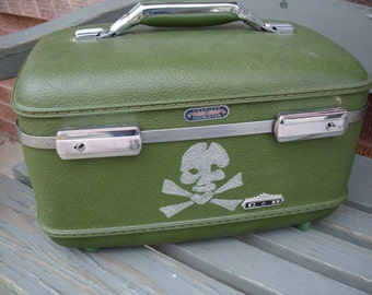 Awesome Upcycled Skull & Crossbones Train Case- Check out our entire collection of Train Cases