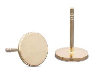 Handmade Gold Earrings - Disc Earrings - Tiny Stud Earrings - Solid Gold Earrings - Minimal Earrings