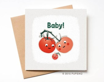 Cute Tomatoes Baby Card, Cute Baby Card, New Baby, First Baby , Baby Shower, girl, boy, Greeting card