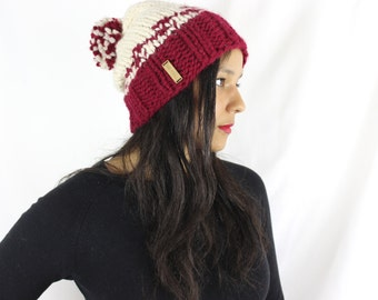 Womens winter hat, Knit slouchy hat - Knit hat with pom pom - The Iona,
