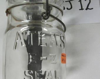 SJ12    Clear embossed Atlas E-2 Sealer Jar