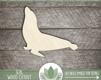 Wood Seal Shape, Unfinished Wood Seal Laser Cut Shape, DIY Craft Supply, Many Size Options, Blank Wood Shapes