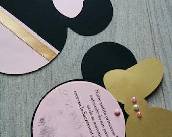 black & pink minnie theme invitation