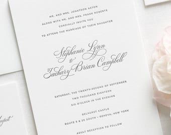 Delicate Elegance Letterpress Wedding Invitations - Deposit