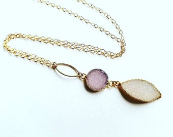 Long Druzy Marquise Necklace