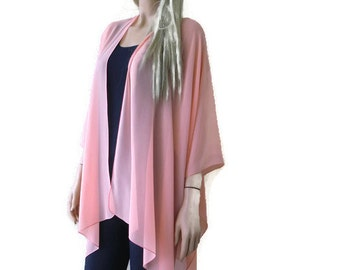Soft Peach  Boho Kimono/ Kimono cardigan--Lagenlook chiffon kimono- chiffon jacket-Ruana style