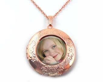 Rose Gold Photo Locket Necklace - Holds up to 3 Photos - Round Picture Locket Customized with your Photo - 4 Finishes Available