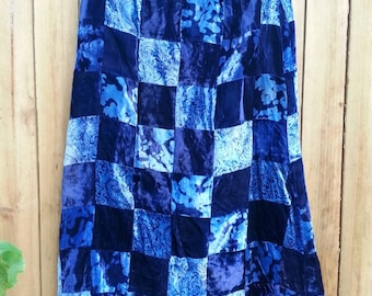 Blue Velvet Patchwork Maxi Skirt