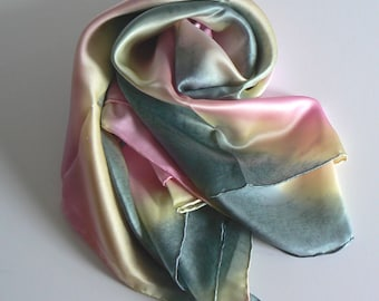 Handmade Large Square Charmeuse Silk Scarf Shawl Wrap 100% Silk High Quality Hand Colored Hand Painted  Jingjingdeisgn
