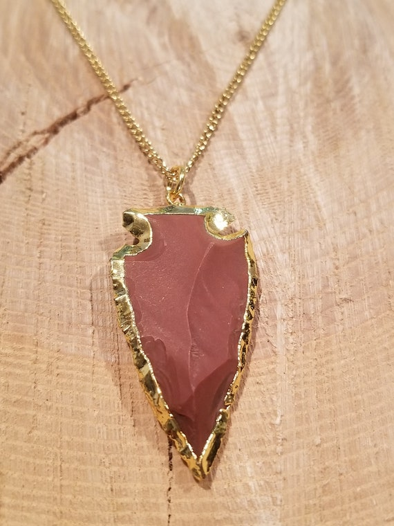 Gold Edged Stone Arrowhead Pendant Necklace Unique Native American Collection Earth Natural Hippie Boho Jewelry (N559)