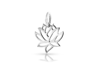 Charm, Lotus with soldered jump ring, Sterling Silver, 10x10mm - 1pc 15% discounted (2842)/1