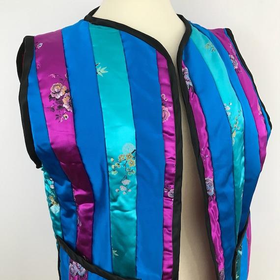 Vintage Chinese jacket waist length sleevesless vest woven oriental silk striped waistcoat large plus size satin silky avant garde costume