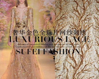 """Classical Golden Tree Elegant Embroidery Sequins Gauze/Mesh Dress Lace Fabric 49.2'"""" Wide/Yard"""