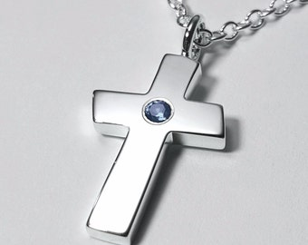Long silver cross necklace large sterling silver cross large blue topaz cross pendant sterling silver cross necklace large blue topaz cross necklace aloadofball Images