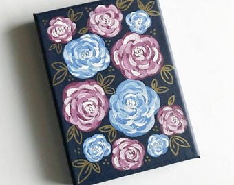 Navy, Burgundy, Light Blue and Gold Floral 5x7in. Canvas