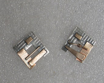 """Square Mixed Metal Post Earrings Sterling Goldfilled Soldered 3/4"""" Post"""