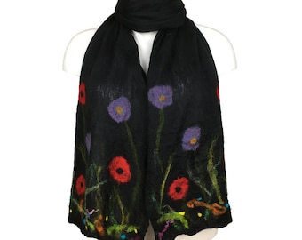 Long nuno felted silk scarf, black merino wool with floral detail