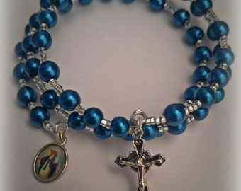 Blue and Silver wrap around rosary