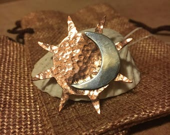 Copper and Sterling silver Sun&Moon