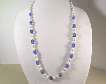 SALE Beautiful Vintage Silver Tone Blue Crystal Beaded Single Strand Necklace With Hammered And Acrylic Beads  DL# 5010