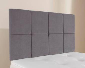 """4ft6 Double Sabden 28"""" Grey Chenille Upholstered Headboard"""