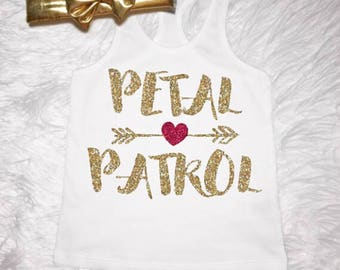 Petal Patrol tank, Flower Girl Sparkly Glitter Gold Wedding Time Petal Patrol Bride to Be Infant, Toddler & Girls Available