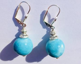 Turquoise ball earrings
