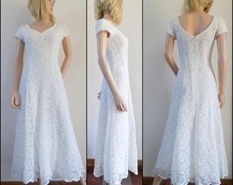 Cream lace Helen Michaels wedding dress evening dress bridesmaids dress uk size 12/small