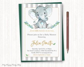 Elephant Baby Shower Invitation, It's a boy watercolor elephant, Blue and Grey little peanut, Stripes, PRINTABLE, Digital file - BSU046B