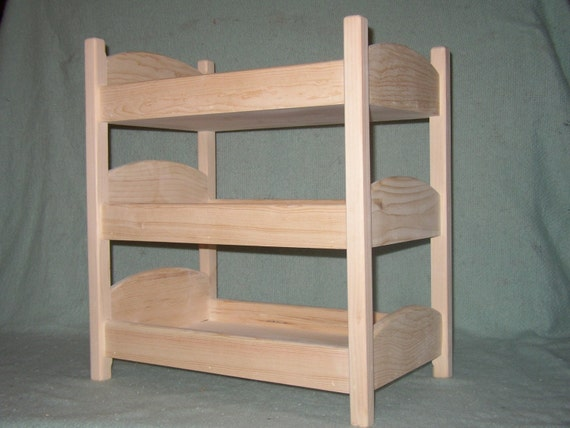 items similar to triple doll bunk bed on etsy. Black Bedroom Furniture Sets. Home Design Ideas