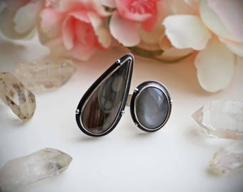 Moon Glow Gap Ring - Size 8.5 - Imperial Jasper & Moonstone Sterling Silver Statement Ring - Gemstone Artisan Metalwork- Silversmith Jewelry
