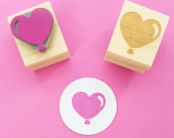 Balloon Rubber Stamp - Heart Party Balloon Rubber Stamper - Birthday Stamper - Party Invite Stamp - Birthday Party - Party Invitation