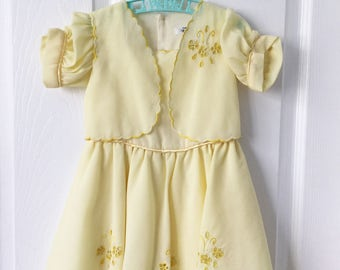 Vintage Yellow Girls Dress
