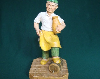 Woodcarving, Old World Wine Maker, Der Winzer, Hand Carved Sculpture, Collectable Wood Carving Gift. Handmade Gift for Him.