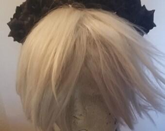Black crown, Black headband, Black flower, Black rose, Goth, Gothic, Gothic headband, Black flower, Black flower crown