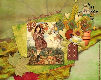 Autumn -Fall Scrapbook kit COULEURS D'AUTOMNE- fall leaves and foliage,flowers, ribbons, hearts, bows,glorious autumn colours.