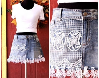 Boho denim skirt / bohemian jean skirt / summer denim mini skirt / Upcycled denim short  skirt / denim lace mini skirt / size 7 / 8 /