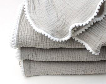 GENDER NEUTRAL Swaddle Blanket / Light Grey and White / Gauze Swaddle  / Baby Blanket / Newborn Blanket / Newborn Baby Blanket