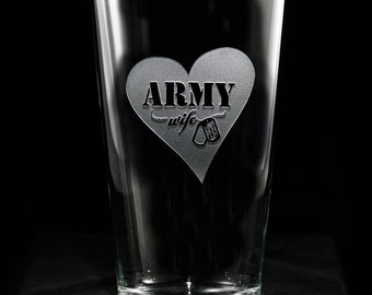 Army Wife Pub/Pint Glass, Proud Army Wife, Military Wives Gifts, Set of 4