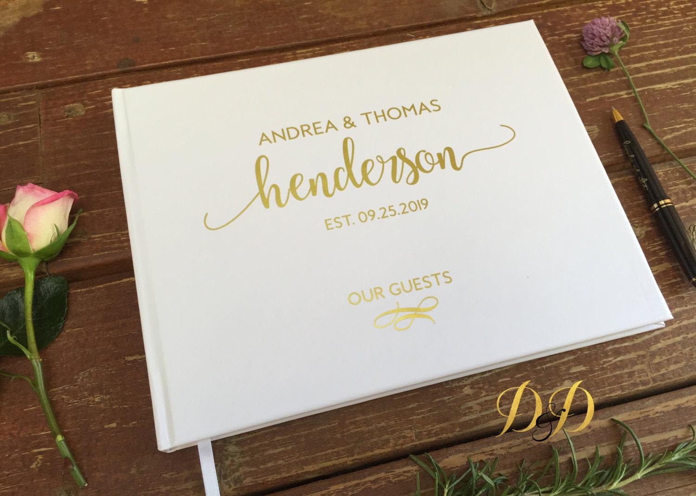 Wedding Guest Book White Blush Cream Real