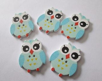 5 blue 25 x 20 mm wooden OWL buttons